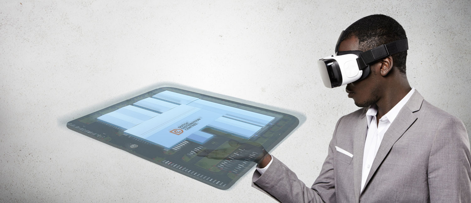 Man looks at a virtual reality model