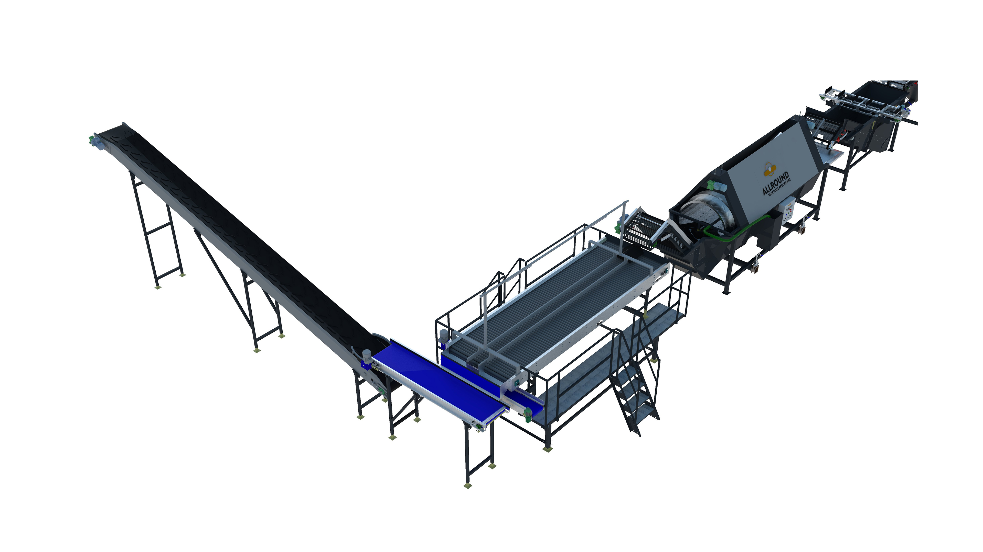 Industrial potato washing line 500 series WEIGHING AND PACKAGING AREA